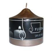 Lumanare cilindrica Φ8x8 cm argintiu inchis metalic