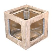 Suport lumanari din lemn de pin cu sticla gri