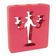 Suport lumanari 3 cupe 21x33 cm roz inchis