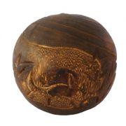 Sfera decorativa din lemn cu nervuri handmade