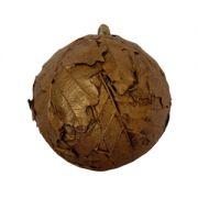 Sfera decorativa cu frunze de stejar Φ10 cm maro handmade