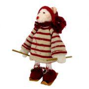 Urs pe schiuri 14x16, 5 cm rosu/alb handmade