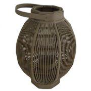 Felinar oval din sticla si bambus 30x57 cm gri inchis