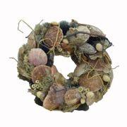Coronita decorativa din scoici si muschi Φ24 cm handmade