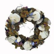 Coronita decorativa din scoici si ciuperci Φ34 cm alb-antic