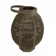 Felinar oval din sticla si bambus 26x51 cm gri inchis
