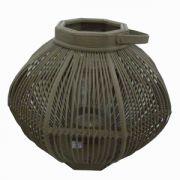 Felinar oval din sticla si bambus 39x54 cm gri inchis
