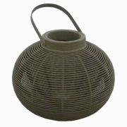 Felinar oval din sticla si bambus 42x55 cm gri inchis