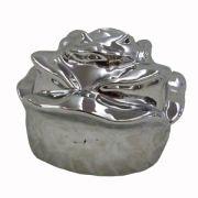 Trandafir decorativ argintiu 13x13x11 cm
