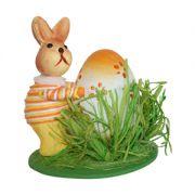Iepuraș cu ou Happy Easter, portocaliu, 12 cm