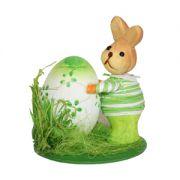 Iepuraș cu ou Happy Easter, verde, 12 cm