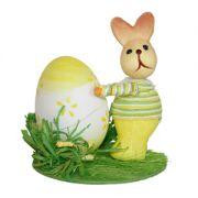 Iepuraș cu ou Happy Easter, galben, 12 cm