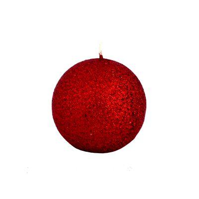 Lumanare sferica stralucitoare rosie