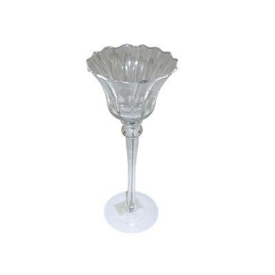 Suport lumanari floare din sticla cu picior Φ10x25 cm