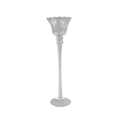 Suport lumanari floare din sticla cu picior Φ10x35 cm