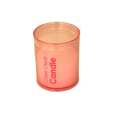 Suport transparent cu lumanare roz