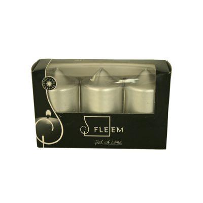 Cutie 3 lumanari Φ5x9 cm argintiu-metalic