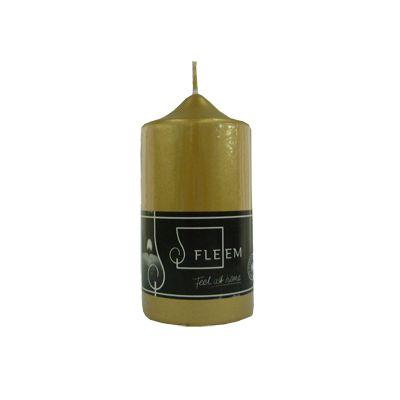 Lumanare cilindrica Φ6x12 cm auriu metalic