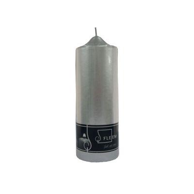 Lumanare cilindrica Φ7x20 cm argintiu metalic