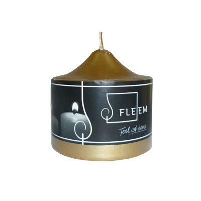 Lumanare cilindrica Φ8x8 cm auriu metalic