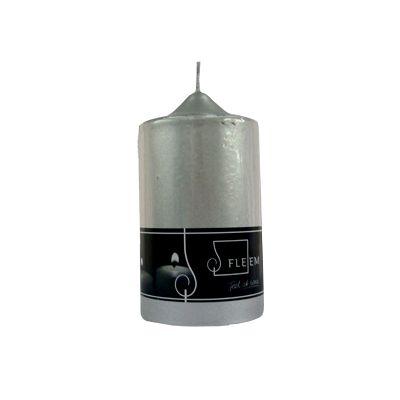 Lumanare cilindrica Φ8x15 cm argintiu perlat