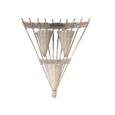 Cuier de perete triunghiular cu 3 cosuri