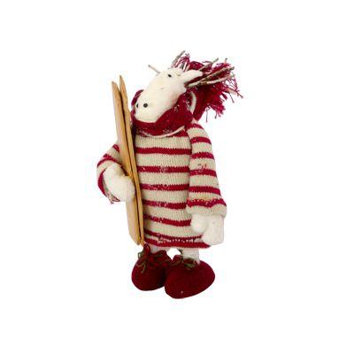 Ren cu schiuri in mana 12x15 cm rosu/alb handmade