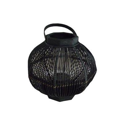 Felinar hexagonal din sticla si bambus 39x54 cm negru