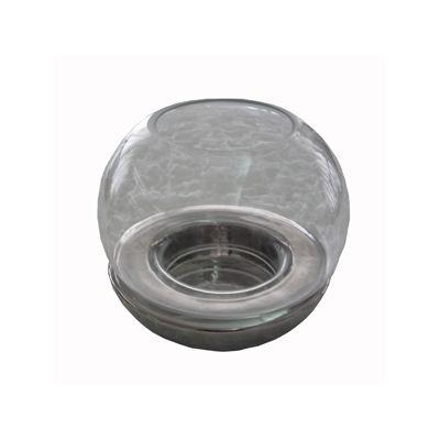 Felinar sferic cu suport metalizat 15x14 cm argintiu