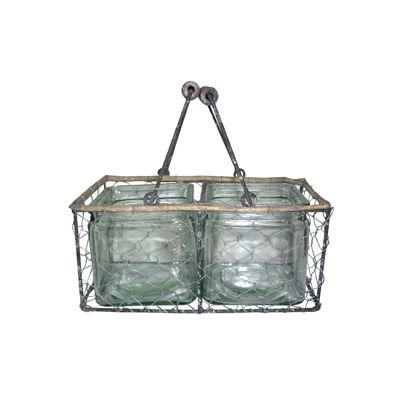 Cos din metal cu 2 suporturi din sticla pentru lumanari 12 x 24 cm