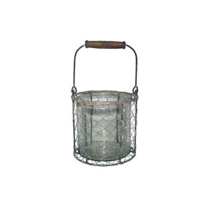 Recipient din sticla cu suport de metal Ø 14 x 14 cm