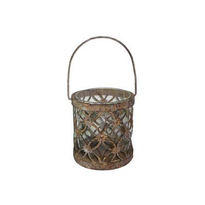 Recipient metal / sticla maro antic, Ø 10 x 11 cm