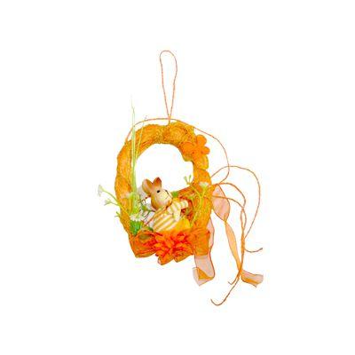 Coroniță cu iepuraș portocalie, 15 cm
